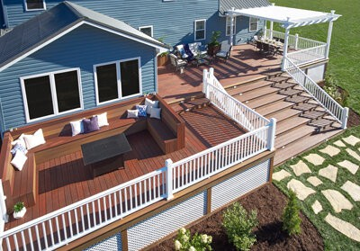 Example of aerial photograph taken by drone showing backyard deck