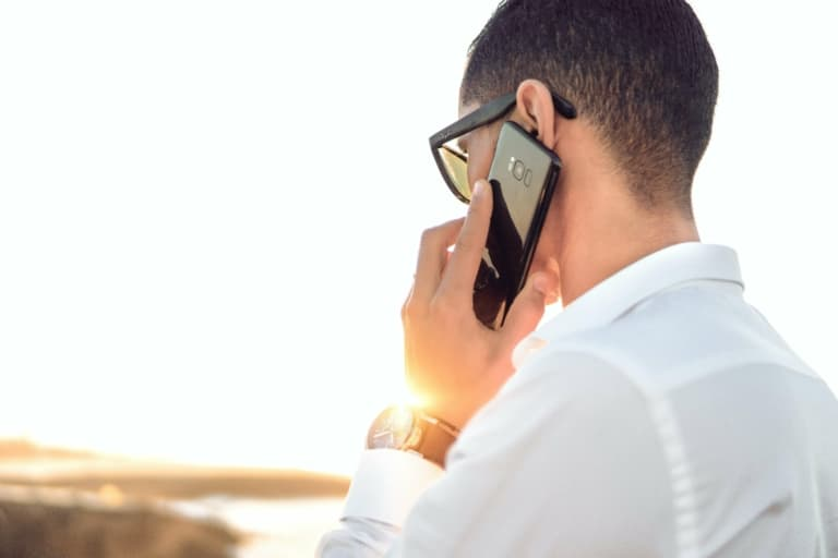 Man Making A Phone Call On Cell Phone