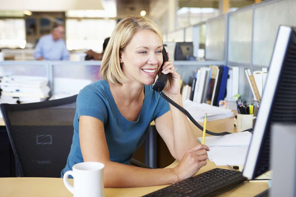 business person making cold calls for marketing