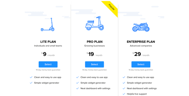 Example of a pricing widget