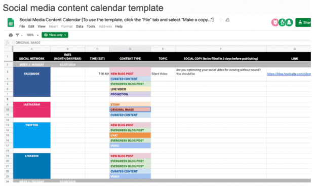 Example of social media content calendar