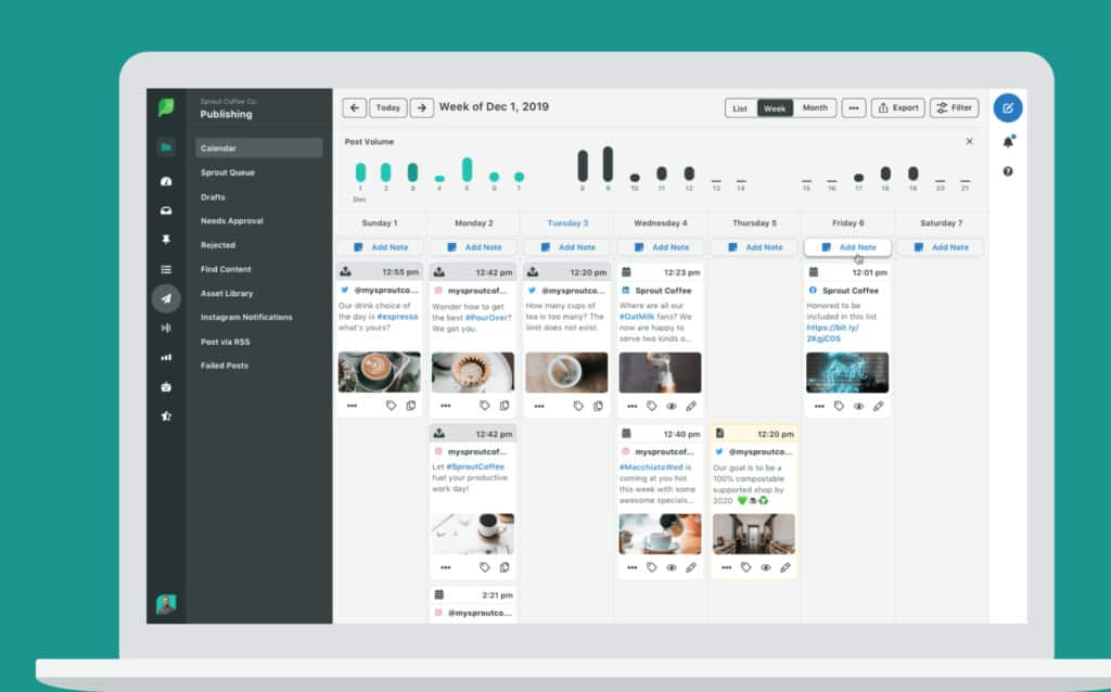 Example of Sprout Social social media scheduling platform