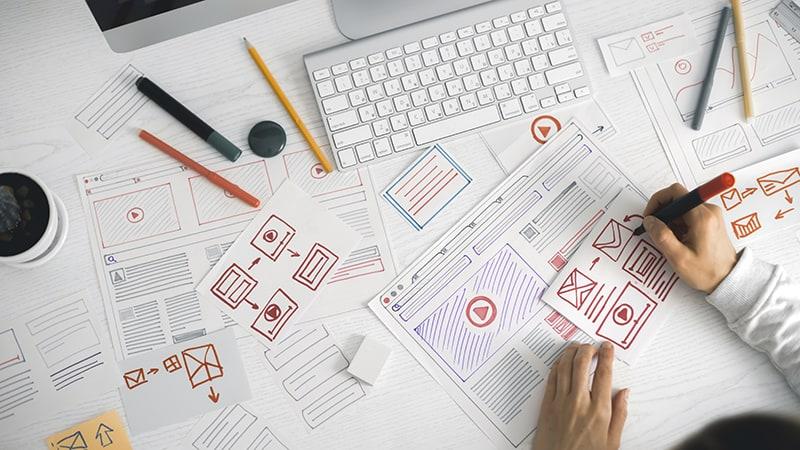 website designer sketching