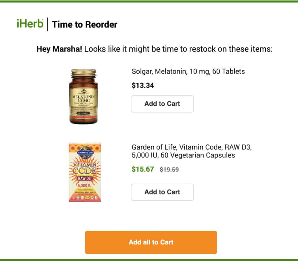 Example of reorder email campaign.