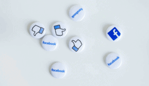Buttons showing Facebook logo and like sign