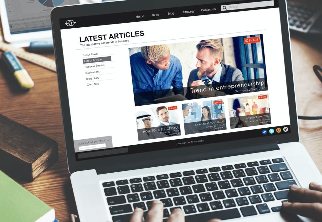 Laptop showing news website homepage
