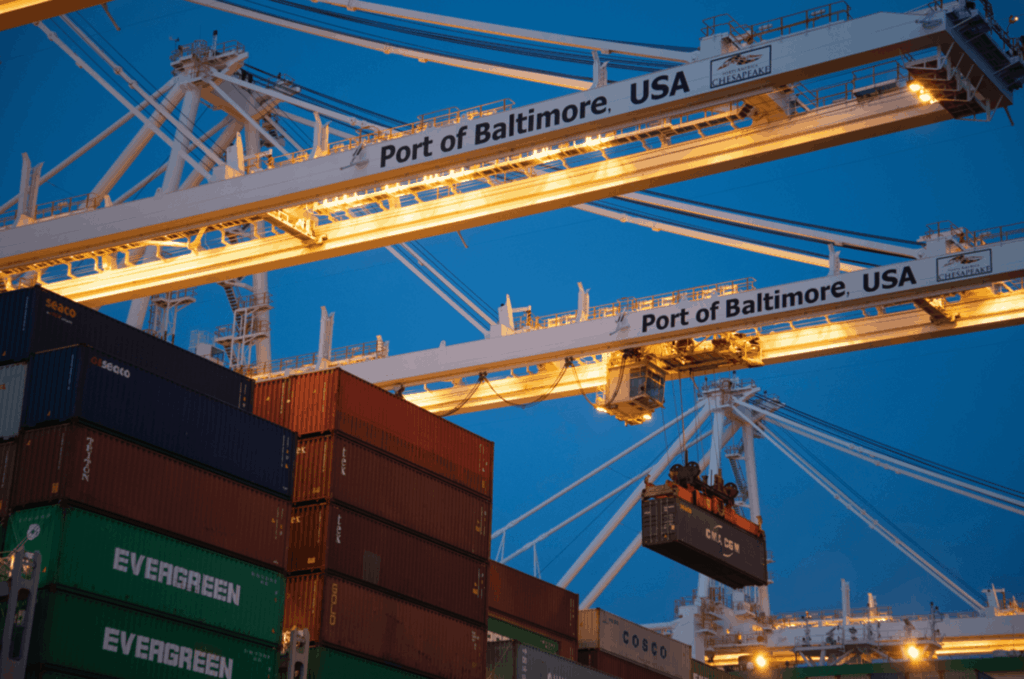 Cranes and containers at port in Baltimore USA
