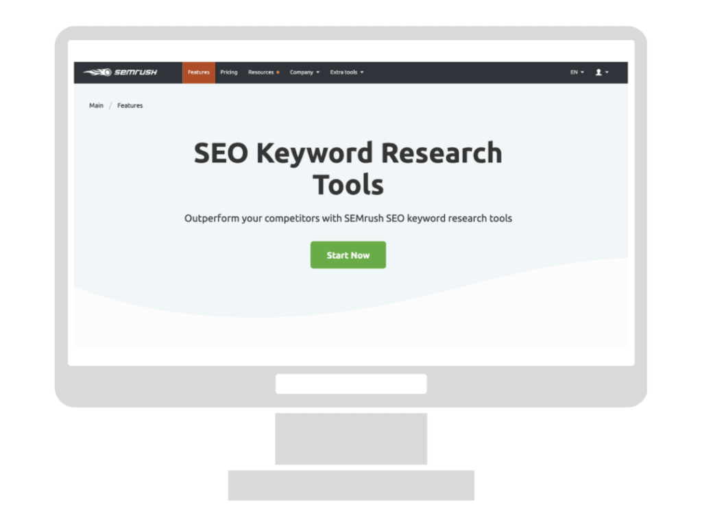Graphic of a computer showing SEO keyword research tools on SEMrush