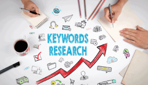 Keyword research graphic with people writing notes around it