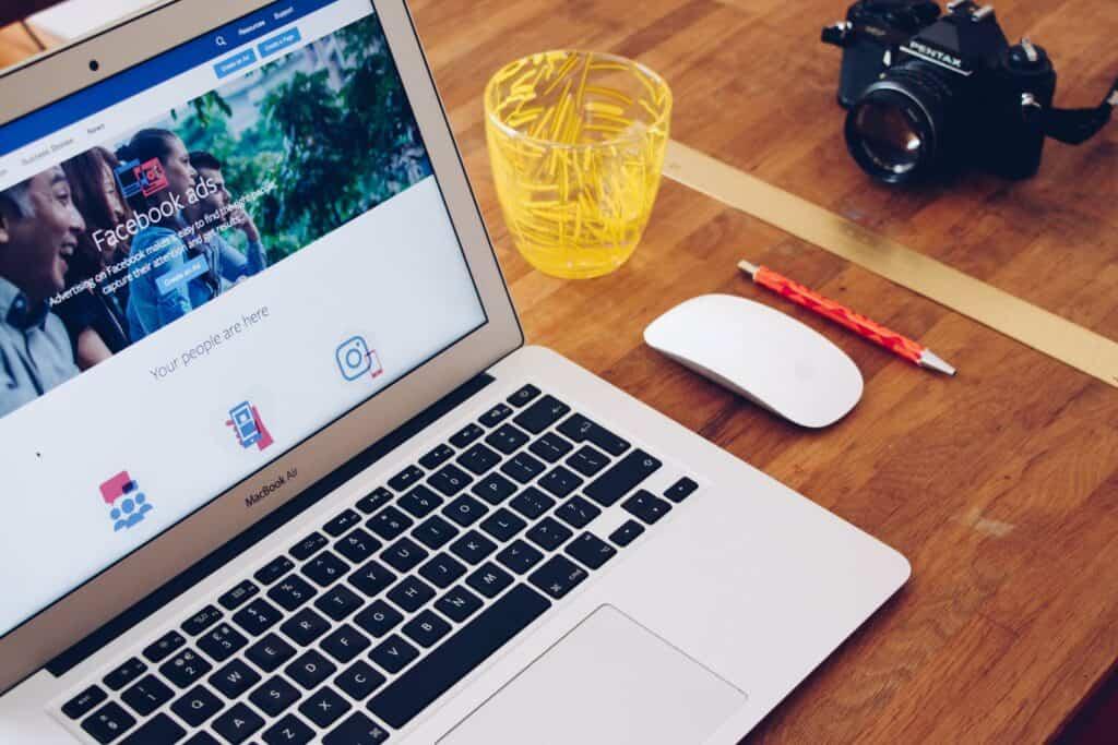 Laptop showing Facebook advertising landing page