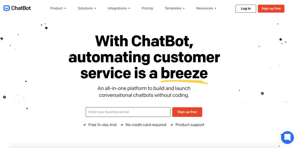 ChatBot Live Chat Plugin Website Landing Page