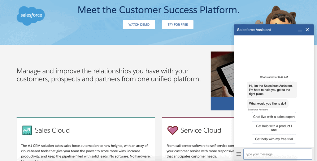 Salesforce CRM homepage with live chat tool shown
