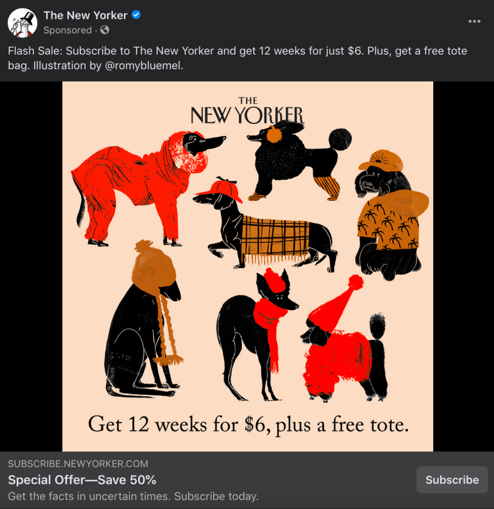 New Yorker Facebook Ad Example