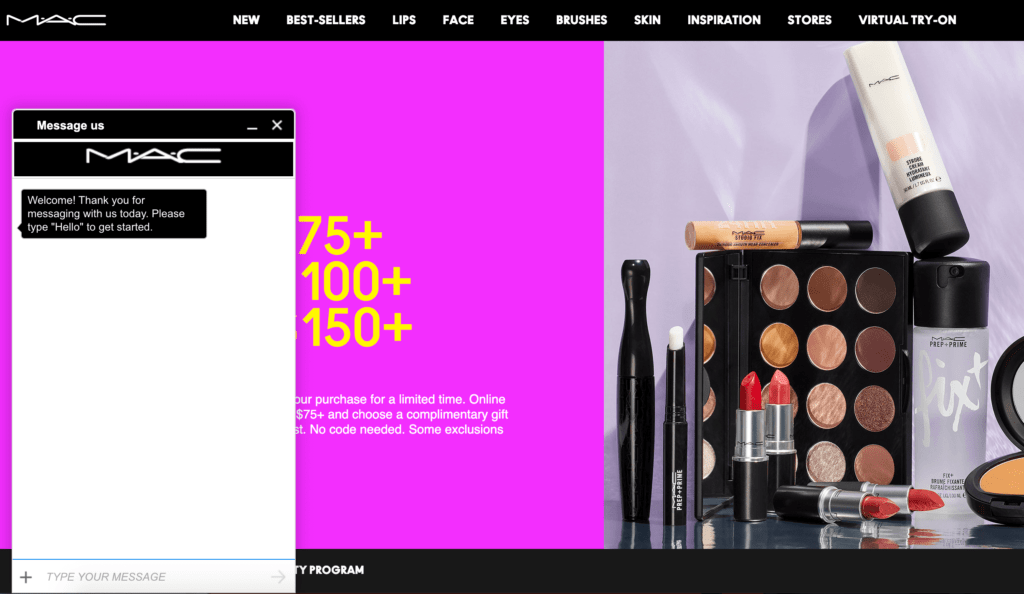 Mac makeup homepage showing live chat box