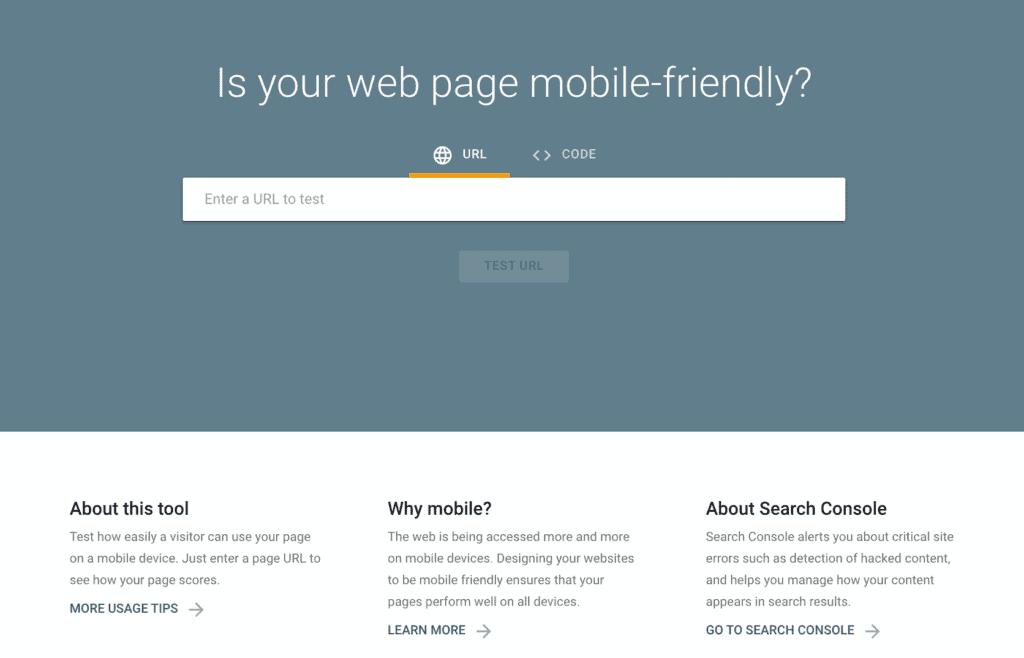Google Mobile Friendly Test Landing Page